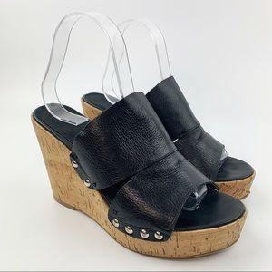 NINE WEST Black Leather Cork Wedge Sandals Sz 8.5
